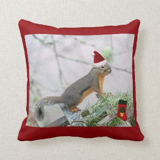 Christmas Squirrel with Christmas Stocking Throw Pillow