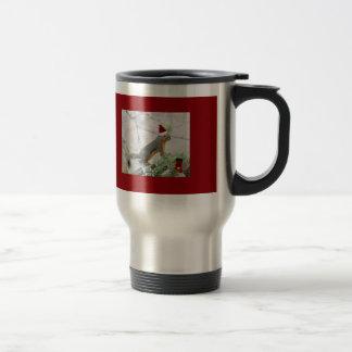 Christmas Squirrel with Christmas Stocking Travel Mug