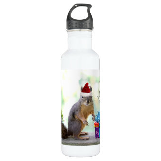 Christmas Squirrel with Christmas Water Bottle