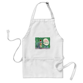 Christmas Squirrel with Evergreen Tree Background Adult Apron