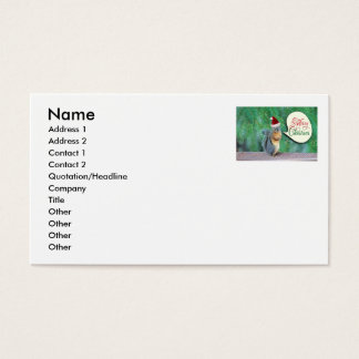 Christmas Squirrel with Evergreen Tree Background Business Card