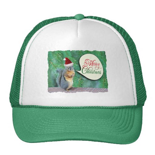 Christmas Squirrel with Evergreen Tree Background Mesh Hat