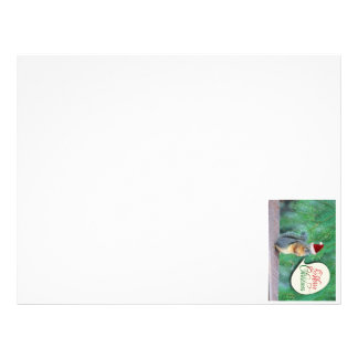 Christmas Squirrel with Evergreen Tree Background Letterhead