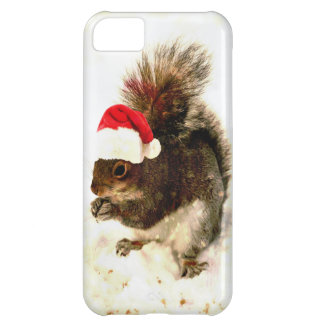 Christmas Squirrel With Santa Hat In Snow iPhone 5C Covers