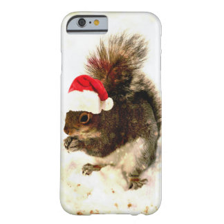 Christmas Squirrel With Santa Hat In Snow Barely There iPhone 6 Case