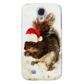 Christmas Squirrel With Santa Hat In Snow Galaxy S4 Cover