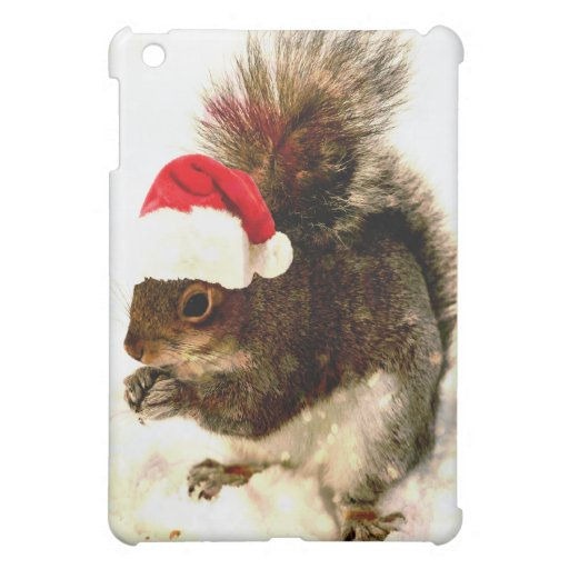 Christmas Squirrel With Santa Hat In Snow Cover For The iPad Mini