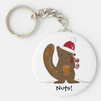 Christmas Squirrel with Saying Keychain
