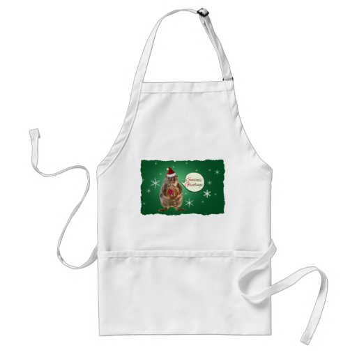 Christmas Squirrel with Snowflakes Adult Apron