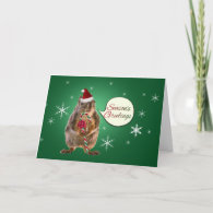 Christmas Squirrel with Snowflakes Cards