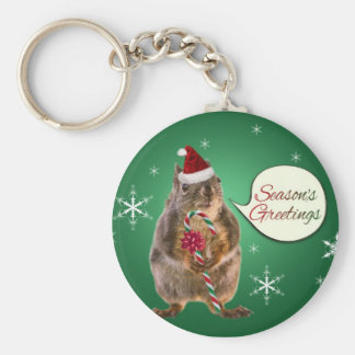 Christmas Squirrel with Snowflakes Key Chains