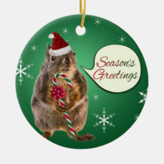 Christmas Squirrel with Snowflakes Christmas Ornaments