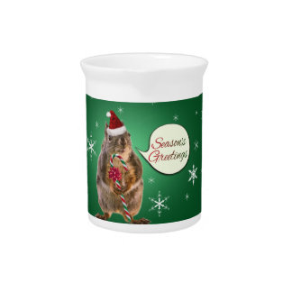 Christmas Squirrel with Snowflakes Drink Pitcher