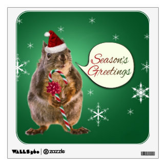 Christmas Squirrel with Snowflakes Wall Decal