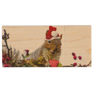 Christmas Squirrel Wood USB Flash Drive