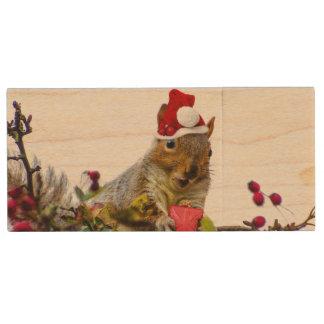 Christmas Squirrel Wood USB Flash Drive