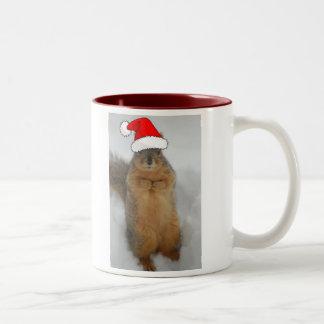 Christmas Squirrels Two-Tone Coffee Mug