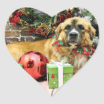 Christmas - St Bernard - Amber Heart Stickers