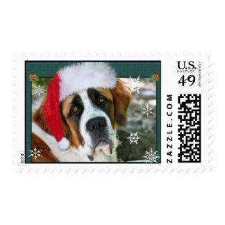Christmas St. Bernard Dog Photo Postage