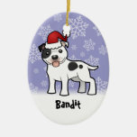 Christmas Staffordshire Bull Terrier (add name) Double-Sided Oval Ceramic Christmas Ornament