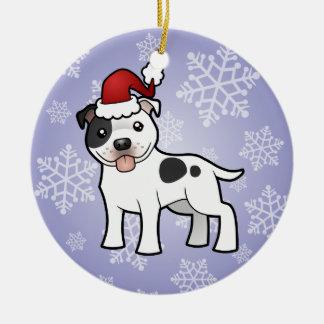 Christmas Staffordshire Bull Terrier Ceramic Ornament