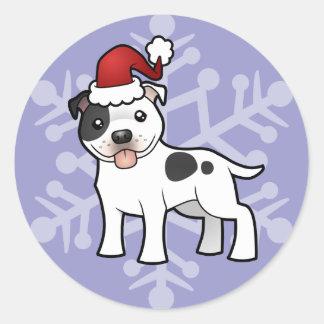 Christmas Staffordshire Bull Terrier Classic Round Sticker