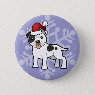 Christmas Staffordshire Bull Terrier Pinback Button