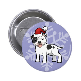 Christmas Staffordshire Bull Terrier Pinback Button