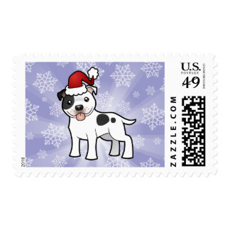 Christmas Staffordshire Bull Terrier Postage Stamp