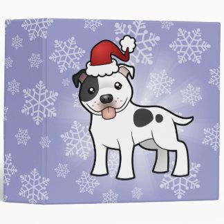 Christmas Staffordshire Bull Terrier Vinyl Binders