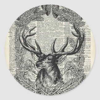 Christmas Stag Classic Round Sticker