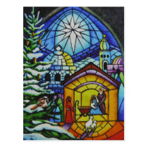 Christmas Stained Glass Window Watercolor Art Postcard
