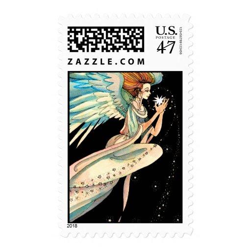 Christmas Stamp:   Angel Stars - Postage Stamp