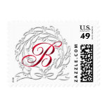 Christmas Stamps B Monograms Wreath Postage