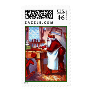 CHRISTMAS STAMPS HOLIDAY SANTA BUSY IN WORKSHOP
