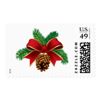 Christmas Stamps Pine Cone Red Ribbon Postage 2014