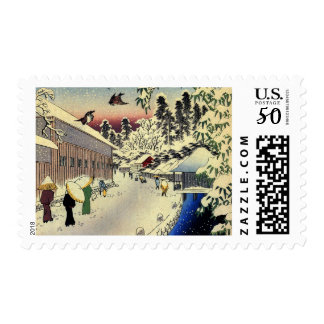 Christmas Stamps with a Japanese Town