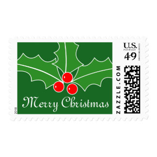Christmas stamps with holly leaves and berries