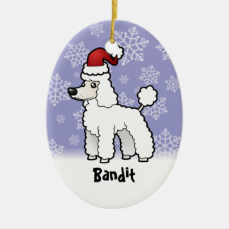 Christmas Standard/Miniature/Toy Poodle puppy cut Double-Sided Oval Ceramic Christmas Ornament