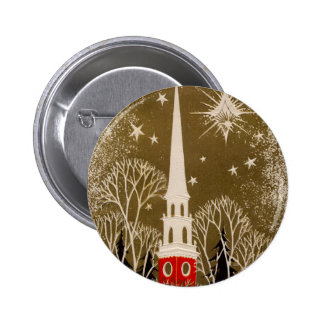 Christmas Star and Steeple on Gold Button
