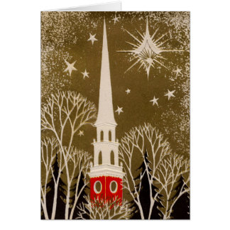 Christmas Star and Steeple on Gold Card