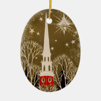 Christmas Star and Steeple on Gold Ceramic Ornament