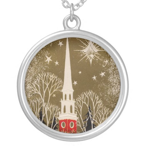 Christmas Star and Steeple on Gold Round Pendant Necklace