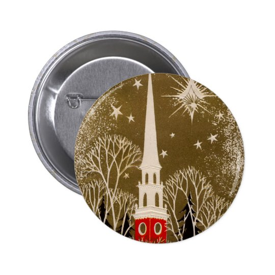 Christmas Star and Steeple on Gold Pinback Button
