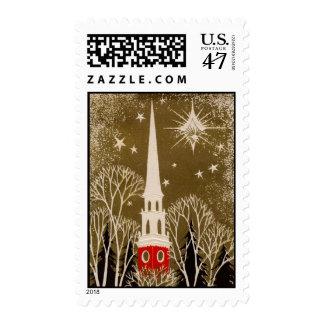 Christmas Star and Steeple on Gold Postage