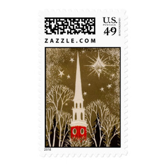 Christmas Star and Steeple on Gold Stamps