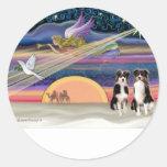 Christmas Star - Australian Shepherds (two tri) Sticker