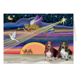 Christmas Star - Basset Hounds (two) Card