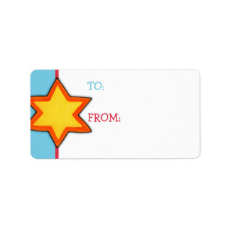 Christmas Star blue Gift Tag Label