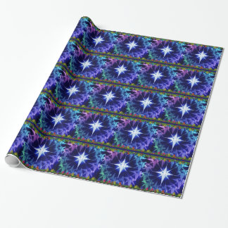 Christmas Star blue Holiday wrapping paper
